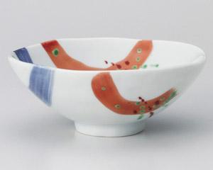 錦朱呉須刷毛平茶碗(小)