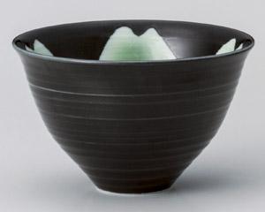 黒釉桜花ゆったり碗(大)