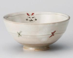 ねことウサギの飯碗(小)・特価(在庫54限り)