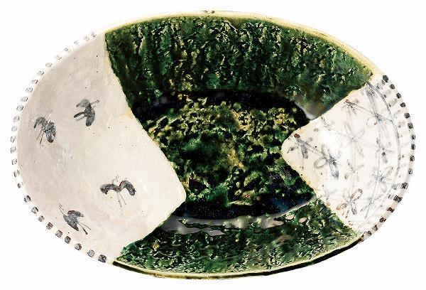 織部鉄絵タタラ尺二舟鉢 サムネイル2