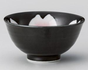 黒釉桜花反少々碗