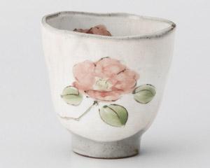粉引野の花椿湯呑
