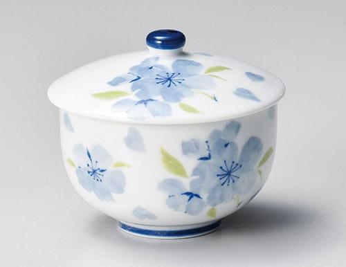 ブルー花散らし蓋煎茶