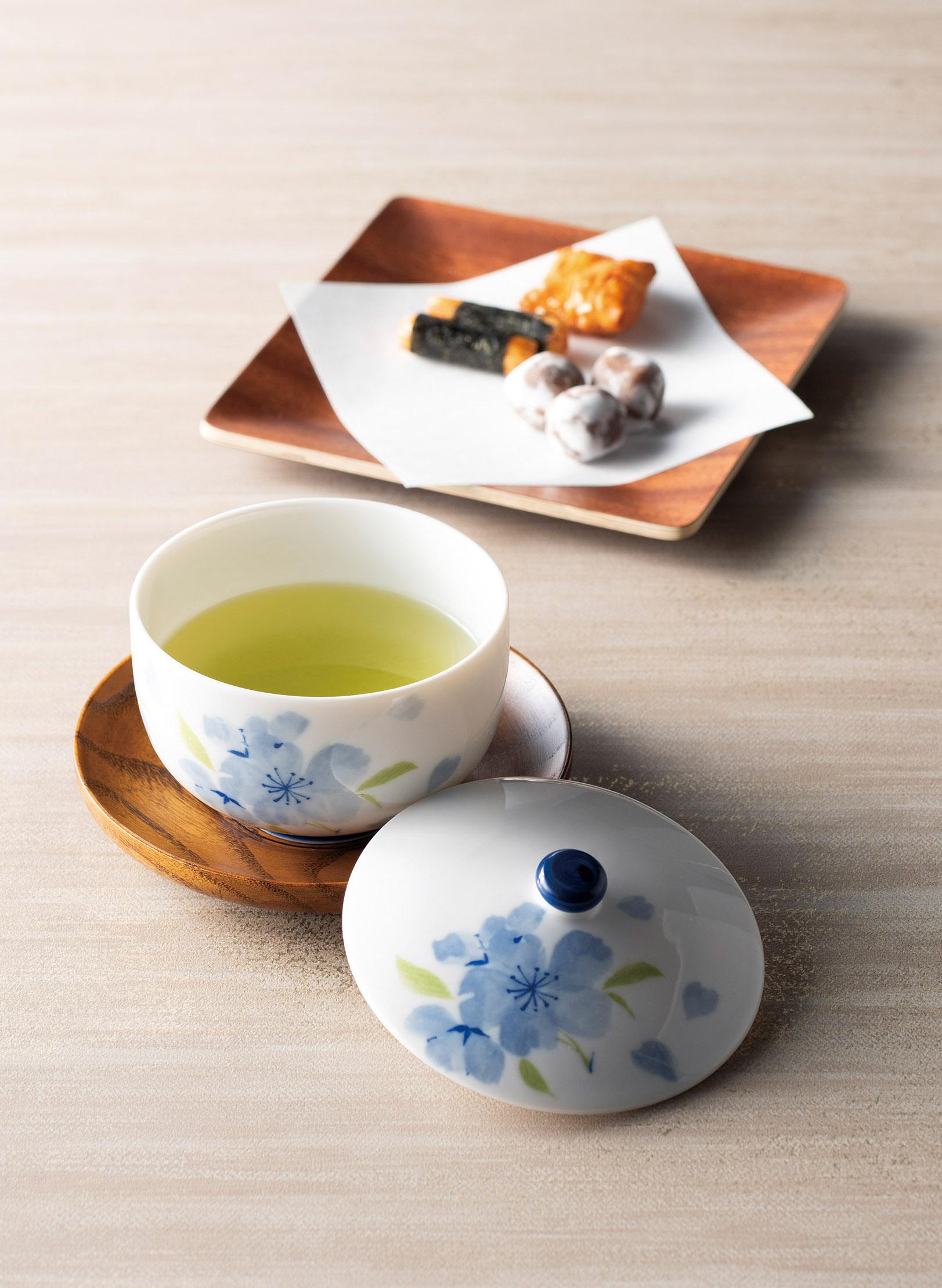 ブルー花散し蓋付煎茶 画像2