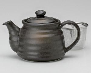 黒釉ポット(茶こし付)