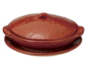 5号赤楽柳川鍋(受皿付)