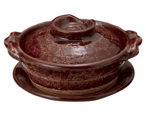 アメ釉5号鍋(受皿付)