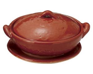 4号赤楽浅鍋(受皿付)