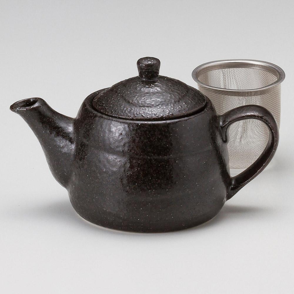 黒結晶ポット(茶こし付)