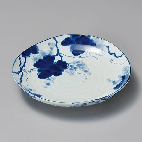 藍染ぶどう3.5三角皿 画像