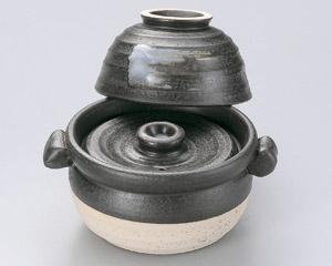 黒陶茶碗付ご飯鍋1合炊(中蓋付)