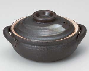 黒陶刷毛目4.5号鍋