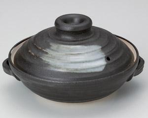 黒陶刷毛目6号浅鍋