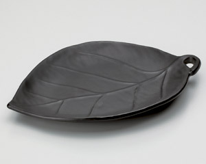 黒釉葉型陶板(小)