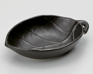 黒釉葉型鍋(大)