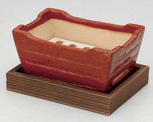 赤楽長角皿コンロ(敷板付)