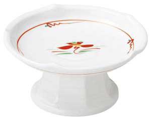 赤絵花紋 梅型高台刺身鉢(小)