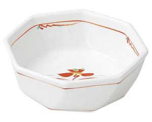 赤絵花紋 八角刺身鉢