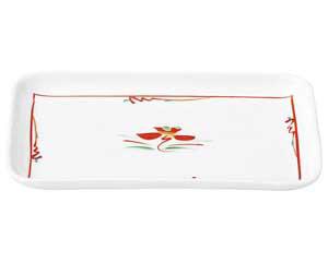 赤絵花紋 7.5長角皿
