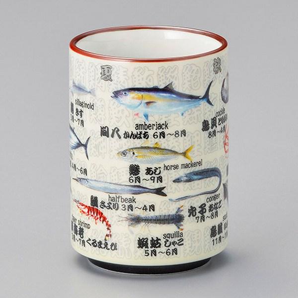 旬の魚寿司湯呑 画像