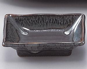 ブルー鉄釉長角小皿