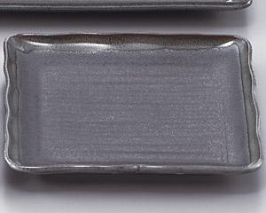 ブルー鉄釉正角大皿
