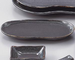 ブルー鉄釉まゆ型付出皿