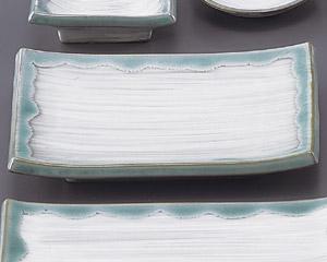 緑水長角焼物皿