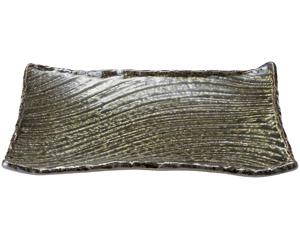 黒織部 31cm角皿