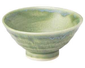 流水織部 茶碗