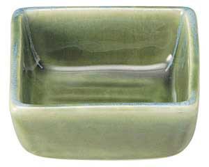 流水織部 四角4.0小鉢