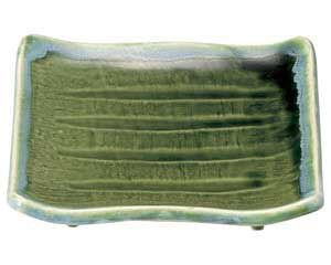 流水織部 まな板正角焼物