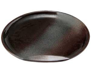 鉄釉布目 半月10.0皿