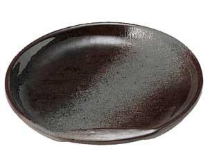 鉄釉布目 半月5.0皿
