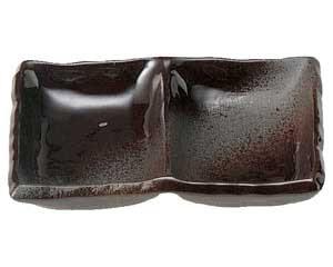 鉄釉布目 二品皿