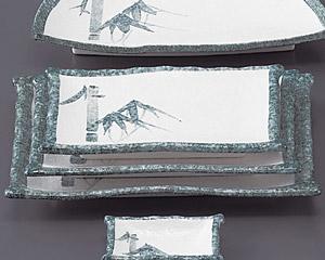 グリーン淡雪笹9.0焼物皿