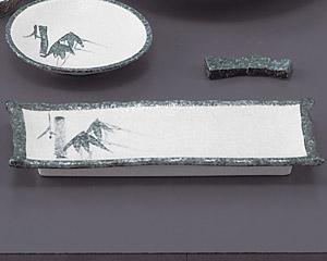 グリーン淡雪笹付出皿