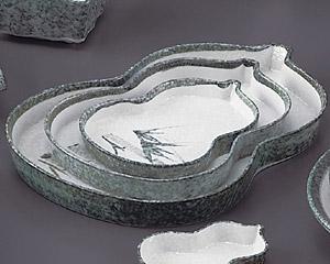 グリーン淡雪笹切立ひさご6.0皿