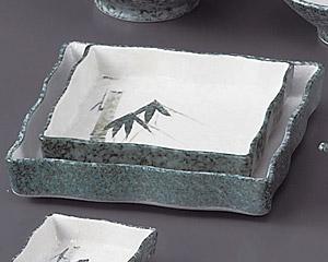 グリーン淡雪笹波角大鉢