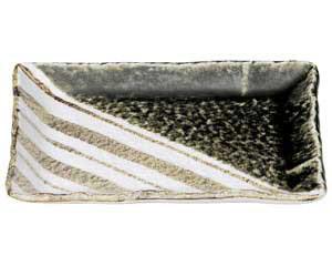 織部ストライプ 8.0長角皿