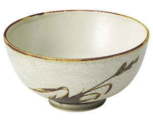 織部流し芦絵 茶碗(中)