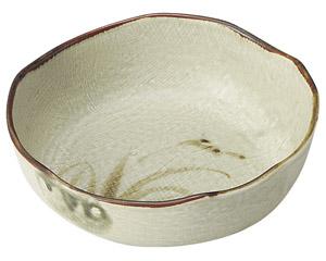 織部流し芦絵 5.0鉢