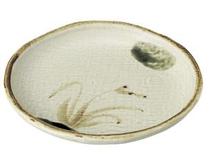 織部流し芦絵 丸5.5皿