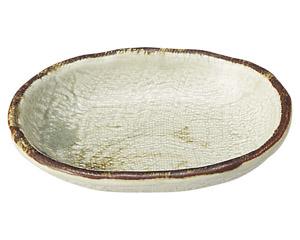 織部流し芦絵 4.0小判皿