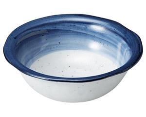 藍彩 ツバ付4.0鉢