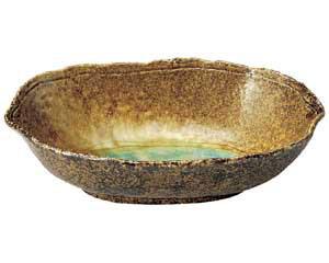 岩清水 木の葉楕円鉢