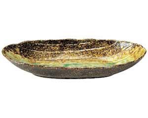 岩清水 石目楕円鉢