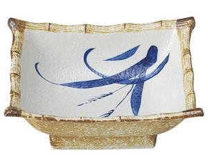 白淡雪ススキ 角刺身鉢