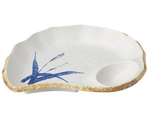 白淡雪ススキ 貝型刺身皿