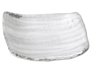 白刷毛目 角小皿